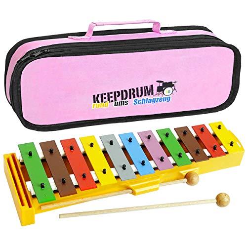 Sonor GS Xylophon Kinder Glockenspiel + keepdrum Tasche Pink