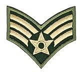 United States Air Force Senior Airman Grün Khaki Aufnäher Bügelbild 6,5 x 6,0 cm