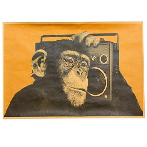 Bazaar Retro Gorilla Hören Sie Musik Papier Poster 42 x 29 cm Bar Wand Home Decoration -