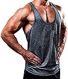 Herren Gym Muscle Weste Solid Color Low Cut Bodybuilding Tank Top Technische Stringer Lifting Fitness Übung Laufen Outfit Tops M-XXL (XXXL, grau 2)