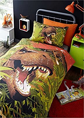 T-Rex Kids Single Quilt Duvet Cover & Pillowcase Bedding Bed Set Dino Dinosaur - low-cost UK light shop.