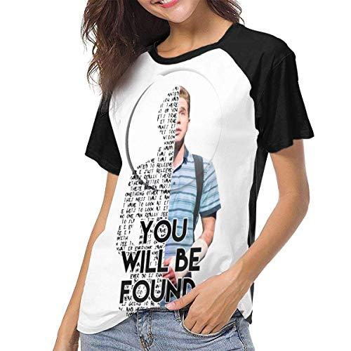 Bagew Damen T-Shirt Mit Rundhalsausschnitt, Dear Evan Hansen Women\'s Casual Short Sleeve T-Shirts Crew Neck Wicking Baseball Tee Tops