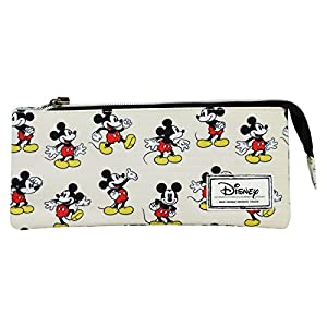 Disney Mickey Mouse Original Estuche Portatodo con 3 Cremalleras Escolar Làpices de colores Necesser
