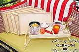 6x klappbarer, massiver und hochwertiger Holzbeistelltisch aus Buchenholz - Beistelltisch, Tablett mit zwei Tragegriffen, Maße viereckig, 35 cm x 50 cm x 20 cm, nutzbar als Frühstückstisch oder Serviertisch, natur, Picknick