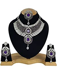 Dashing Kundan Zirconic Designer Silver Plated Kundan Necklace Jewelry Set
