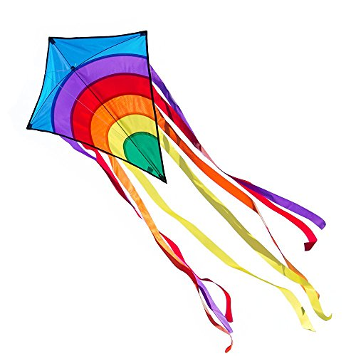 Kinderdrachen - Rainbow Eddy BLUE - Einleiner für Kinder ab 3 Jahren - Abmessung: 65x74cm - inkl. 80m Drachenschnur und 8x105cm Streifenschwänze