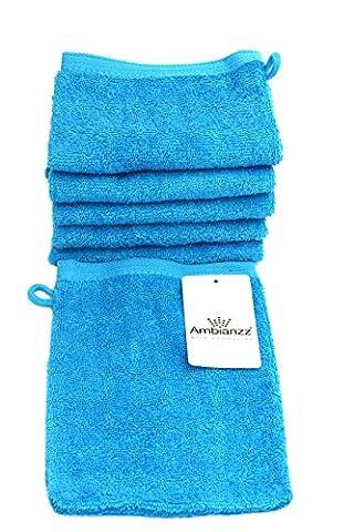 Lot de 6Ambisound anzz® Gant de toilette 100% coton avec cordelaufhängung dans un Joyeux Turquoise