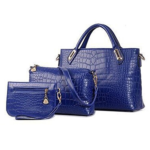 BYD - Donna Female Borse a mano Set 3 in 1 Set Colore puro High Quality PU Leather Crocodile Mutil Function with 1 Purse and 1 Wallet Elegant Fashion School Bag Work Office Bag Blu scuro