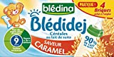 Blédina Blédidej Céréales au Lait de suite Saveur Caramel dès 9 mois 4 x 250 ml - Pack de 3