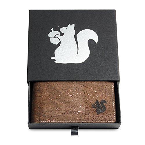 Leichtes Bifold Herren Portemonnaie vegan aus Kork (dunkel) mit Geschenkbox wasserabweisendes, robustes, handmade Portemonee (dunkel) (dunkel) - 2