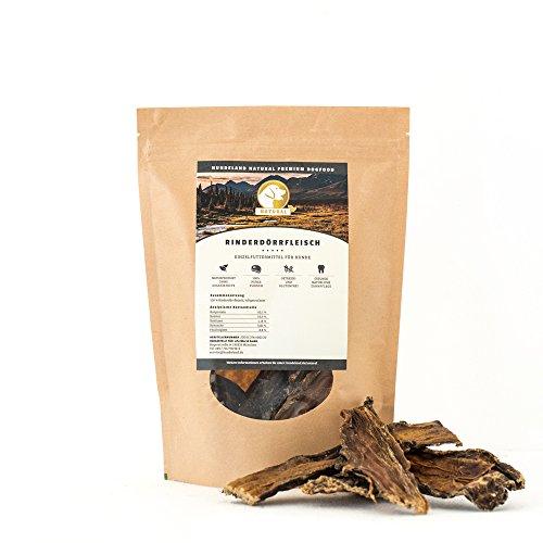 Hundeland Natural | Rinderdörrfleisch | 300 g | Naturkausnack | gesunde Belohnung | naturbelassen | schlachtfrische Rohprodukte | sanfte Trocknung