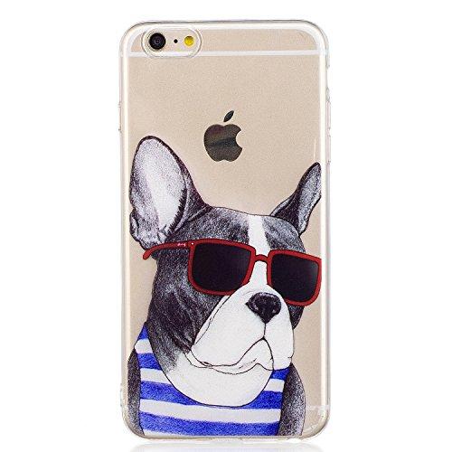 iPhone 6 Plus Hülle, Voguecase Silikon Schutzhülle / Case / Cover / Hülle / TPU Gel Skin für Apple iPhone 6 Plus/6S Plus 5.5(Lila-Kleid-Mädchen 01) + Gratis Universal Eingabestift Bulldogge 01