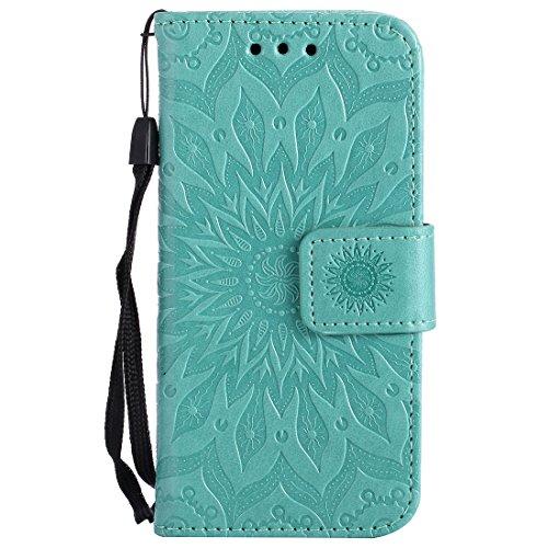 Chreey iPod Touch 5 / Touch 6 Hülle, [Prägung Indische Sonne] Lederhülle Sonnen Blume Brieftasche Wallet Tasche Magnet Flip Case Handyhülle Etui mit Kartenfach Ständer [Grün]