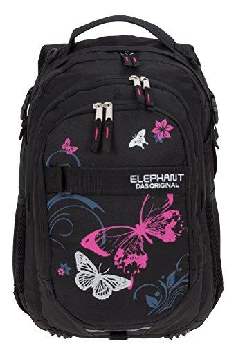 c2e3e18113d66 ELEPHANT Schulrucksack HERO SIGNATURE Rucksack Motiv 12679 (Butterfly Black  PINK)