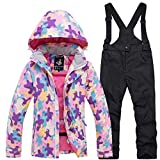 Kids Ski Suits Waterproof Snowsuit Set,Outdoor Ski bib Suit Jacket Winter Children's ski wear Set Warm Cotton snowear for Boys Girls -F XL