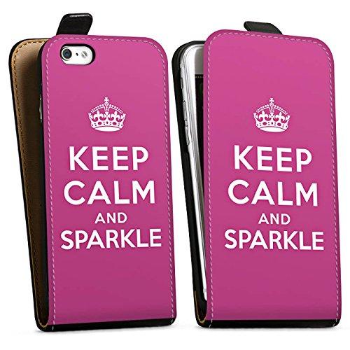 Apple iPhone X Silikon Hülle Case Schutzhülle Keep calm and sparkle Mädchen Sprüche Downflip Tasche schwarz