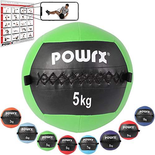 POWRX Wall ball Balón medicinal 5 kg - Ideal ejercicios