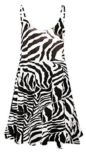 Fashion 4 Less Damenkleid, Cami-bedruckt, in Größen von 34 bis 52 / 54 - Gr. 38-40, zebra -