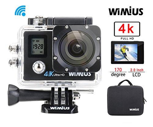 Caméra d'Action 4K WiMiUS Q4 WIFI Sport Camera Embarquée 16MP Ultra HD Etanche 40m avec Housse Portable et Kit d'Accessoires (Noir)