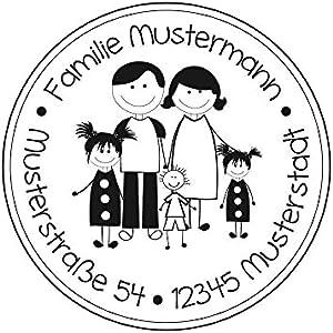 Familienstempel | Familienmitglieder mit Familienname und Adresse | Eltern mit 2 Mädchen und 1 Jungen