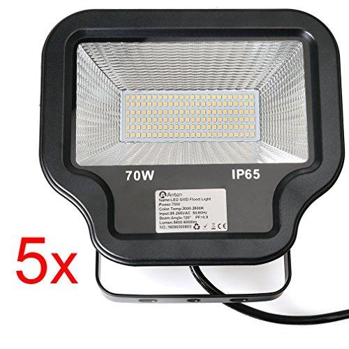 5 Stü DM Spot LED Fluter Außen Strahler SMD 2835 LED Flutlichtstrahler WW in warmweiß (3000-3500K) Scheinwerfer Außenstahler Flutlicht Spotlight 70W wie 700W Leuchtkraft von Halogenleuchtmittel IP65 Wasserdicht LED Arbeitsleuchten 230V