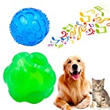 Pelota de perro de juguete chirriante, ulable, duradera, de goma, con sonido chirriante, traje de dos tamaños para mascotas pequeñas, medianas y grandes (azul verde, azul pequeño, verde y azul pequeño)