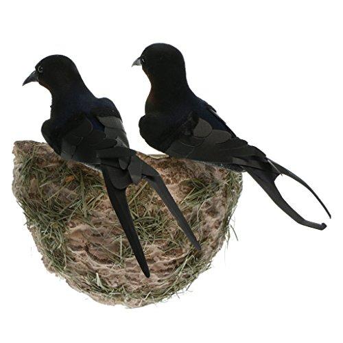 FLAMEER Oiseau Artificiel Réaliste De 1set avec Le Cadeau De Décoration De Jardin d'animal De Nid De Bricolage
