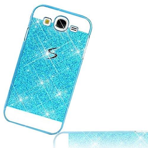 Das Samsung Galaxy J5 SM-J500F 5 Zoll 2015 Hart Bling Glitzer Rückseite Schale Tasche Etui Hartschal Case - Sunnycase Galaxy J5 PC Luxus Matt Strass Glitzer Bling Twinkle Glänzend Schutz Zurück Hülle Kristall Shiny Case, Blau Blue (Samsung Galaxy J5 SM-J500, Blau)