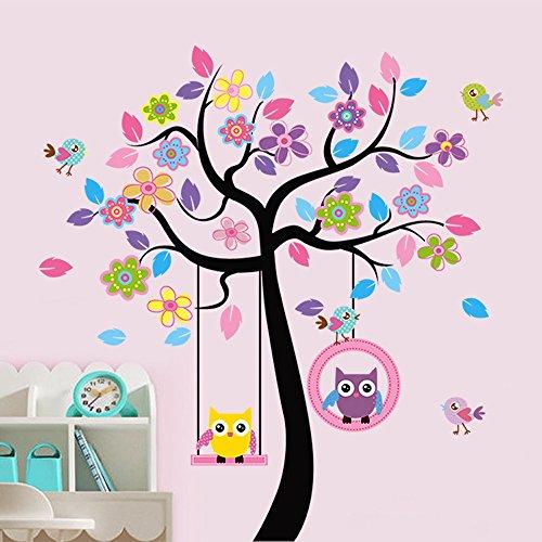 ufengker-colores-hiboux-de-bande-dessinee-darbre-de-fleurs-oiseaux-stickers-muraux-la-chambre-des-en