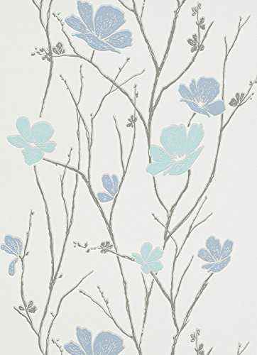 #Vliestapete Blumen Ranken blau grau Tapete Erismann Make Up 2 6922-08 692208#