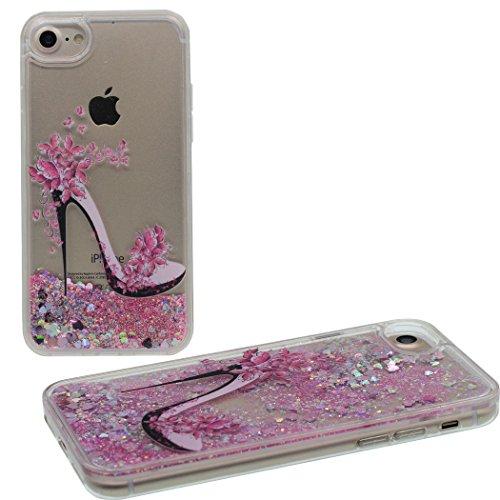 iPhone 6S Plus Hülle High Heels & Bling Glitzer Pulver Schön Herzen (Rosa) Fließen Wasser Case Cover für Apple iPhone 6S Plus & iPhone 6 Plus 5.5