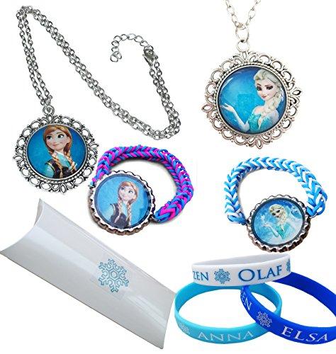 Eingefroren.Geschenkpackung. Snow Queen Elsa und Prinzessin Anna Halsketten mit AnhŠnger und 5 X Junior Grš§e Silikon und Loom ArmbŠnder