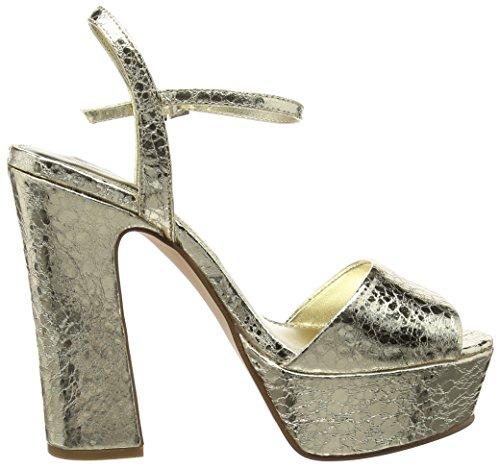 La Strada Gold Cracked Leather Look Sandal, Sandales ouvertes femme Or - Gold (1443 - cracked gold)