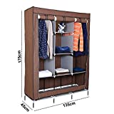#7: Kurtzy Collapsible Clothes storage Wardrobe Cupboard Closet with 6 Cabinet and 2 long Shelves Organizer Hanging Rail Rack Foldable Portable Canvas Drawers