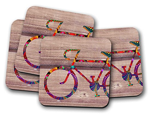 4 Fahrrad-Untersetzer, ein ideales Geschenk zum Einzug