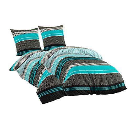 Sentidos Bettwäsche-Set 4teilig Renforcé Baumwolle 135x200 cm mit Reißverschluss Bett-Bezug, 80x80 cm Kissen-Bezug Bett-Garnitur türkis schwarz weiß (2 STK.135 x 200 cm + 2 STK. 80 x 80 cm)