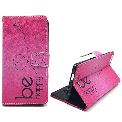 König-Shop Handy-Hülle für Wiko Highway Pure Klapp-Hülle aus Kunst-Leder | Inklusive Panzer Schutz Glas 9H | Sturzsichere Flip-Case in Pink | Im Be Happy Pink Motiv