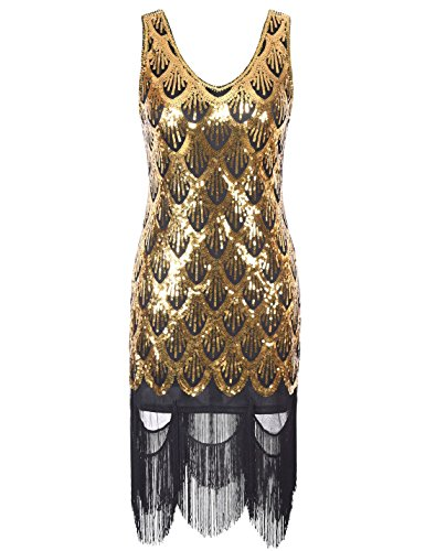 PrettyGuide Femmes 20s Great Gatsby Sequin Fishscale Agrémentée Fringe Flapper Dress jaune dor¨¦