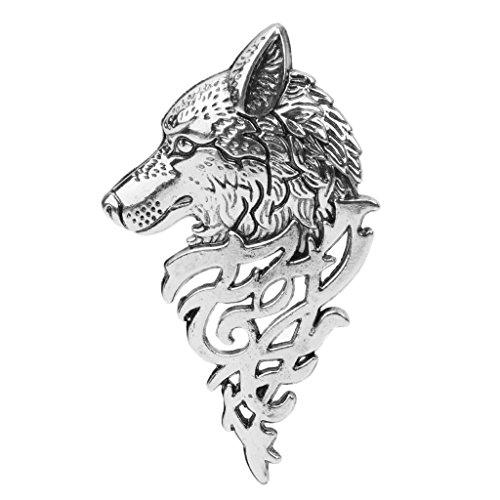 SimpleLife Männer/Frauen Broschen, intage Europa Wolf Badge Brosche Revers Pin Hemd Anzug Zubehör