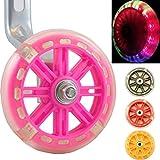 Wheels of Awesomeness–Intermitente LED para ruedines para bicicletas de niños de Bikes & Coi. Intermitente rojo, verde y azul para hacer ciclismo con diversión y seguridad, rosa