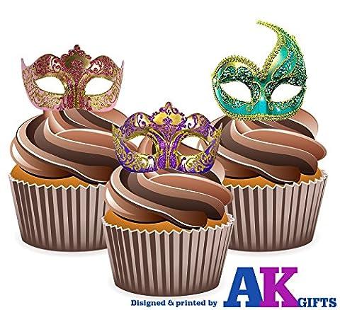Masquerade Ball Masken, Gold Mix–essbar Stand-up Cupcake Topper (Pack von 12)