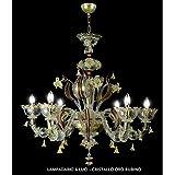 San Marco Murano lámpara de araña 6luces cristal oro rubí