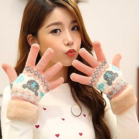 ZHGI Guantes mujer otoño e invierno más cálido de felpa coreano guantes tejidos de lana guantes de equitación estudiantes,A