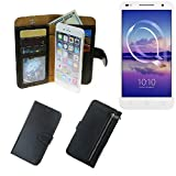 K-S-Trade Für Alcatel U5 HD Dual SIM Schutz Hülle Portemonnaie Case Phone Cover Slim Klapphülle Handytasche Schutzhülle Handyhülle schwarz aus Kunstleder (1 STK)