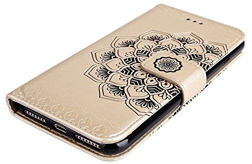 Coque Apple iPhone 7 Plus, iPhone 7 Plus coque silicone, Roreikes Housse Etui pour iPhone 7 Plus/iPhone 8 plus nouvelle boutique Folio portefeuille / portefeuille étui en cuir PU de haute qualité cuir Or