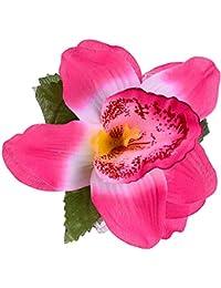 Blume PINK FUCHSIA Blüte ROSE Haarclip Haarklammer Glitzer Federn Haarschmuck