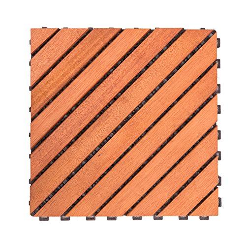 Vifah V182 12 Diagonale inférieure avec Verrouillage de Eucalyptus Deck pour carrelage, Marron