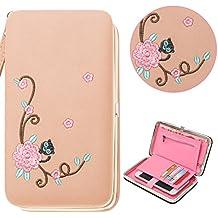Portefeuille pour Femme, Bonice Porte-monnaie Cuir PU Wallet Broderie Style Sac à Main Longue Multifonctionnel Bourse Beau Grande Capacité Porte-cartes Passeport Porte-étui Fille pour Téléphone pour LG V30/G6/G5/K8 2017/K10 2017/G4/Stylo 2/Stylo 2 Plus,for Wikia Lenny 3/2/Jerry, for iPhone X/8/8 Plus/7 Plus/7/6S Plus/6S/6/SE/5S/5 - Rose clair