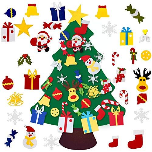 Milaloko Albero di Natale in Feltro Fai-da-Te, Ornamenti Staccabili 30 Pezzi, Regali di Natale per Bambini Decorazioni per Appendere Le pareti di Natale di Capodanno