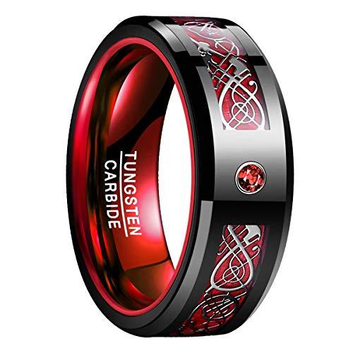 Natur Fashion - Wolfram Ring Herren Damen Unisex 8MM Schwarz Rot mit Keltischen Drachen + Zirkonia Rot für Hobby Hochzeit Verlobungs Alltag Geschenk Größe 54 (17.2) -